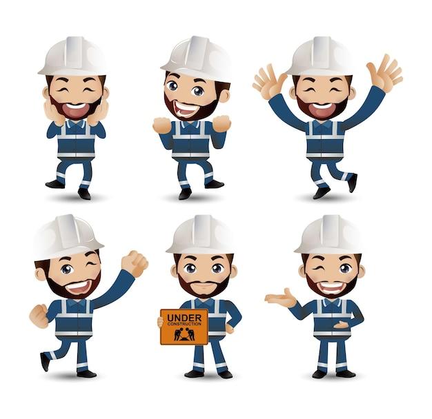Ensemble D'ingénieur, Travailleur Vecteur Premium
