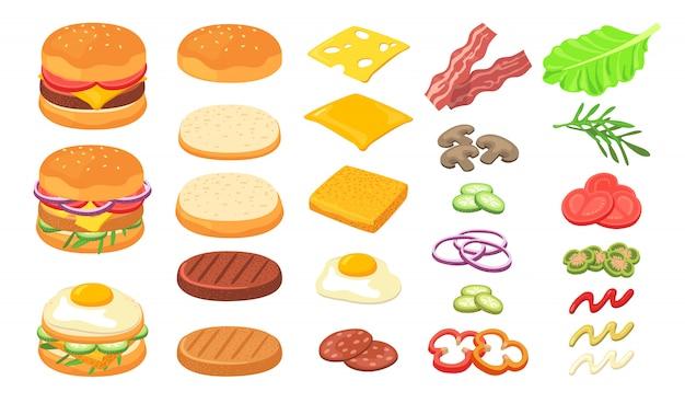 Ensemble D'ingrédients Burger Vecteur gratuit