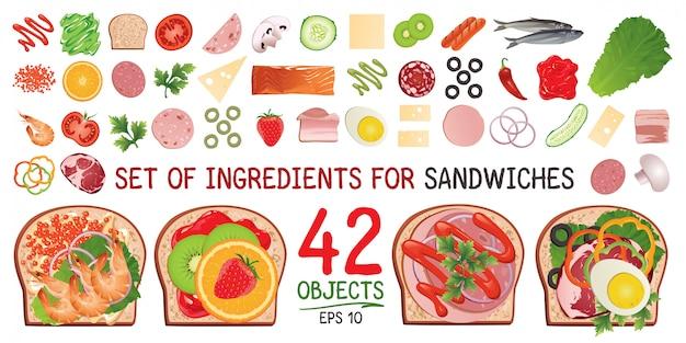 Un Ensemble D'ingrédients Pour Un Sandwich. Vecteur Premium