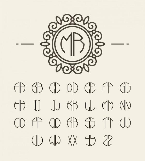 Ensemble d'initiales alphabet et monogramme de ligne Vecteur Premium