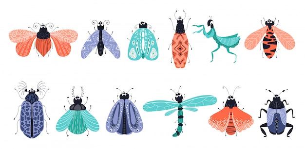 Ensemble d'insectes ou de coléoptères, papillons Vecteur Premium