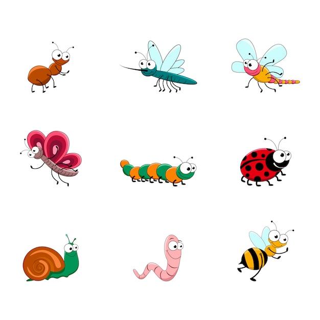Ensemble D'insectes De Dessin Animé Mignon. Vecteur Premium