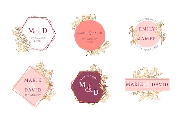 Ensemble insigne floral doré de mariage Vecteur gratuit