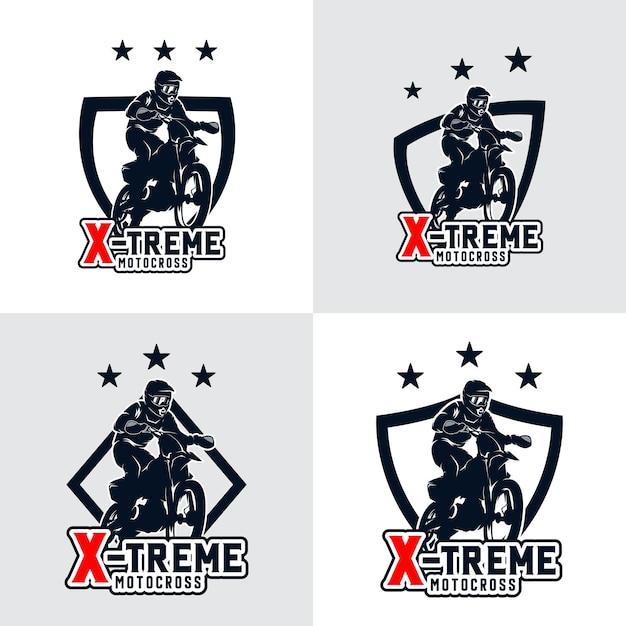 Ensemble D'insigne De Logo De Motocross Freestyle Vecteur Premium