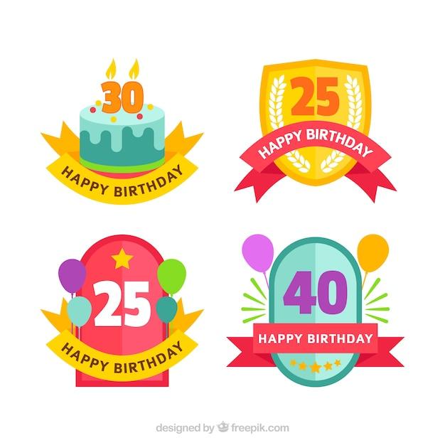 Ensemble D'insignes D'anniversaire Vintage En Conception Plate Vecteur gratuit