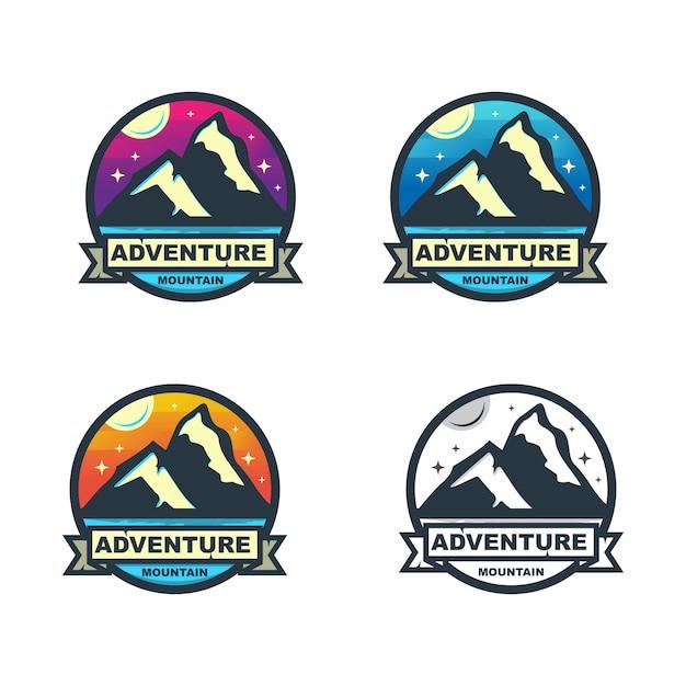 Ensemble d'insignes de cercle de montagne coloré Vecteur Premium