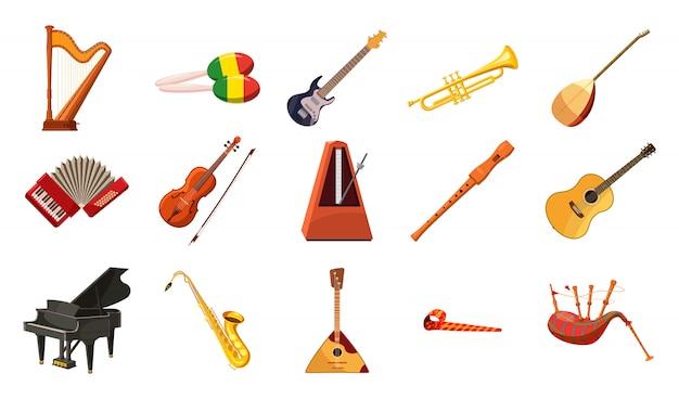Ensemble d'instruments de musique. ensemble de bande dessinée d'instrument de musique Vecteur Premium
