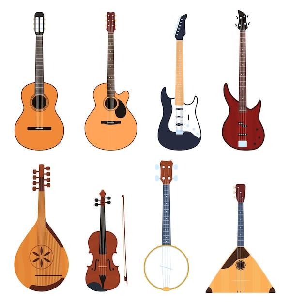 Ensemble D'instruments De Musique, Instruments De Musique à Cordes, Instruments De Musique Classiques, Guitares, Instruments De Musique Nationaux. Vecteur Premium