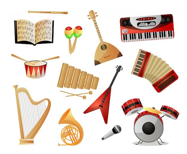 Ensemble D'instruments De Musique Modernes Ou Anciens Pour L'école Ou L'université Vecteur Premium