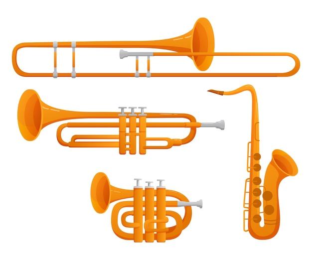 Ensemble D'instruments De Musique Trombone, Trompette, Saxophone, Hautbois.illustration.sur Un Fond Blanc. Vecteur Premium