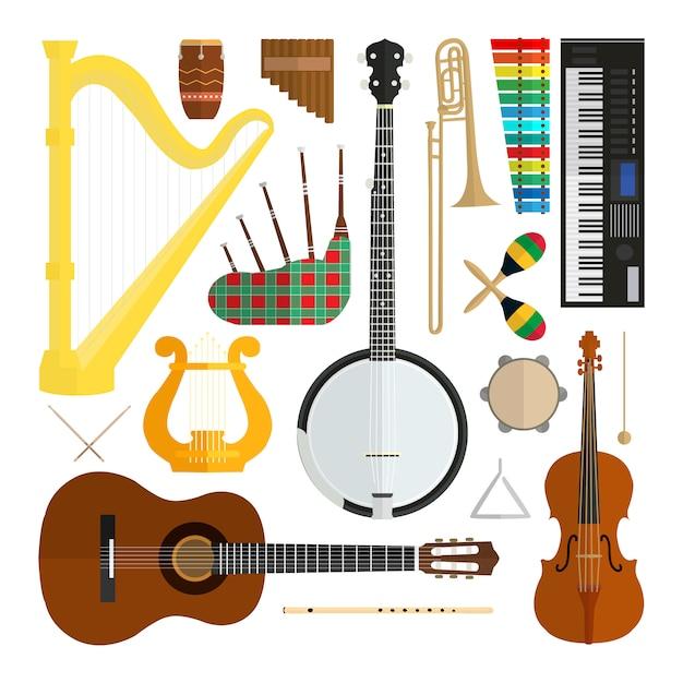 Ensemble d'instruments de musique vectoriel design plat moderne isolé sur fond blanc. Vecteur Premium