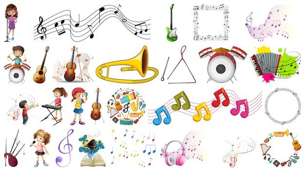 Ensemble D'instruments De Musique Vecteur gratuit