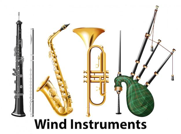 Ensemble d'instruments à vent Vecteur gratuit