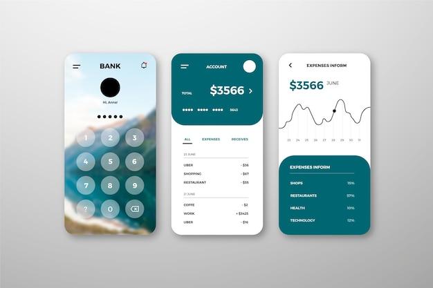 Ensemble D'interface D'application Bancaire Vecteur gratuit