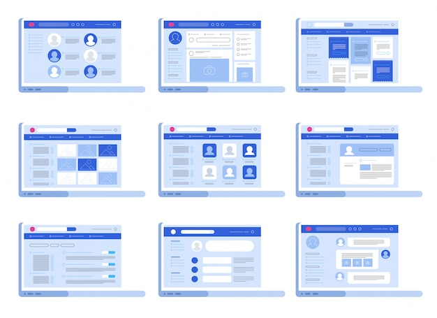 Ensemble d'interface web de réseau social Vecteur Premium