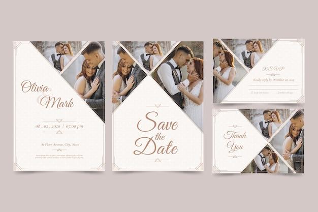Ensemble d'invitation de mariage moderne avec enregistrer la date Vecteur gratuit