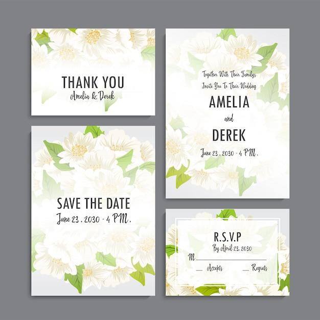 Ensemble d'invitation de mariage. Vecteur Premium