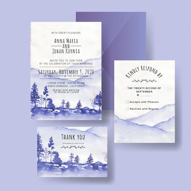 Un Ensemble D'invitations De Mariage De Montagne D'hiver D'aquarelles Vecteur Premium