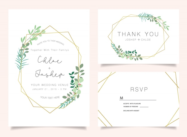 Ensemble d'invitations de mariage Vecteur Premium