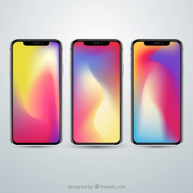Ensemble d'iphone x avec fond d'écran dégradé Vecteur gratuit