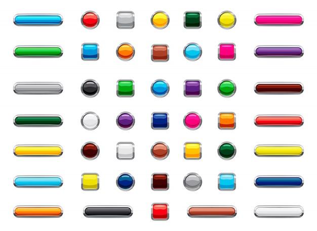 Ensemble isolé de bouton web. jeu de dessin animé de bouton web Vecteur Premium