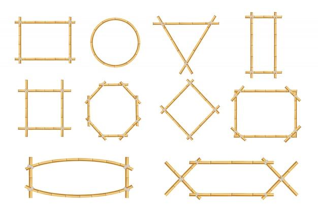 Ensemble isolé de cadre de signe de bambou rustique japonais Vecteur Premium