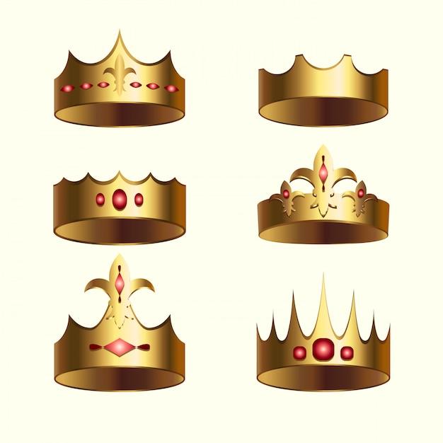 Ensemble isolé de la couronne d'or du royaume Vecteur Premium