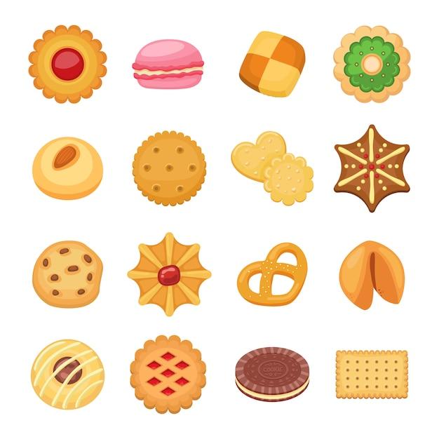 Ensemble isolé de différents gâteaux à biscuits Vecteur Premium