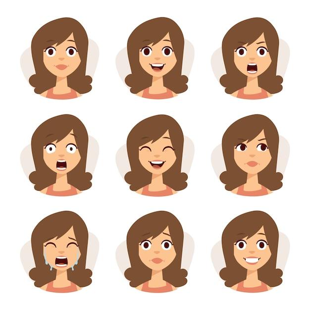 Ensemble isolé d'expressions d'avatar femme face à illustration d'émotions. Vecteur Premium