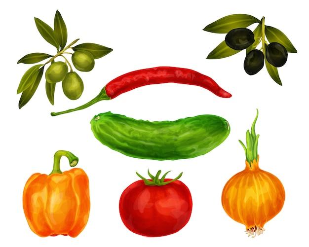 Ensemble isolé de légumes Vecteur gratuit