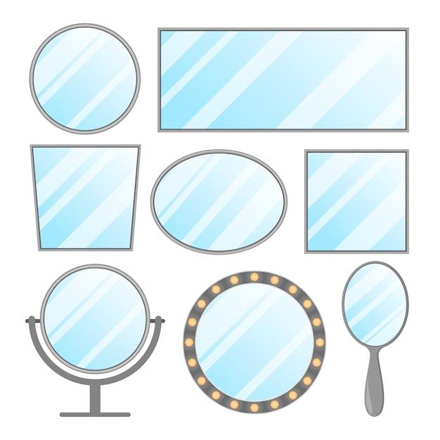 Ensemble Isolé De Miroir. Décoration Intérieure En Cadre, Cercle Et Forme Ovale. élément De Meuble Rectangulaire. Espace Vide Pour La Réflexion. Vecteur Premium