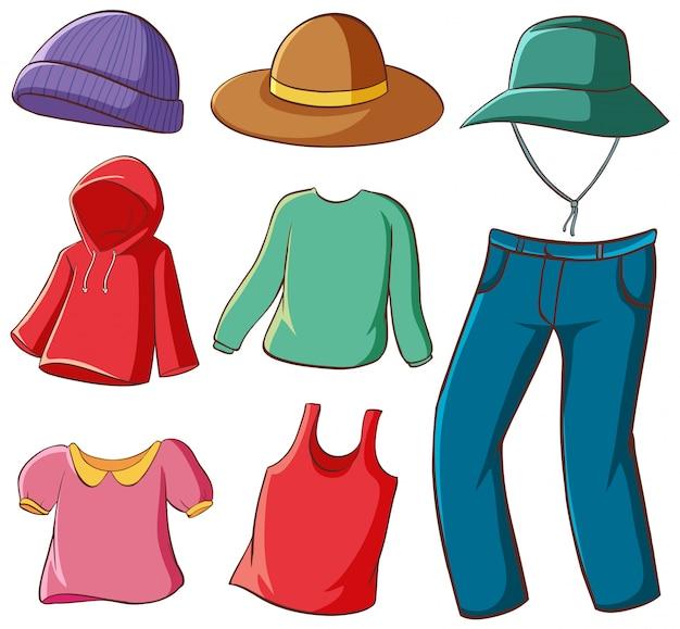 Ensemble Isolé De Vêtements Vecteur gratuit