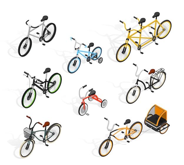 Ensemble isométrique de cycles de poussée Vecteur gratuit