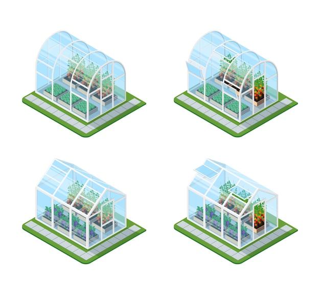 Ensemble isométrique à effet de serre en verre Vecteur gratuit