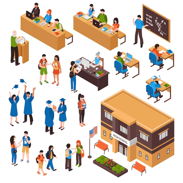 Ensemble isométrique d'élèves et d'enseignants Vecteur gratuit