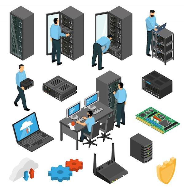Ensemble isométrique d'équipement de centre de données Vecteur gratuit