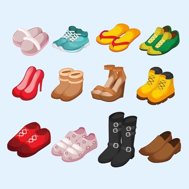 Ensemble isométrique de footware Vecteur Premium
