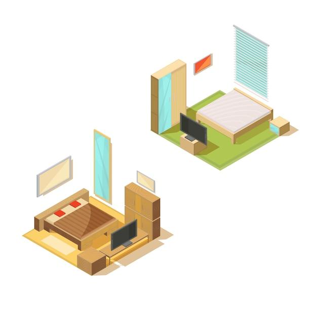 Ensemble isométrique de meubles d'intérieurs de deux chambres à coucher avec lit double tv set miroir et illustration vectorielle de table de chevet Vecteur gratuit