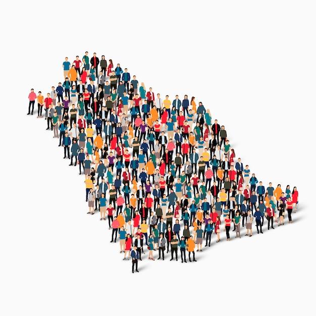 Ensemble Isométrique De Personnes Formant La Carte De L'arabie Saoudite, Pays, Concept D'infographie Web D'espace Encombré, Plat 3d. Groupe De Points De Foule Formant Une Forme Prédéterminée. Vecteur Premium