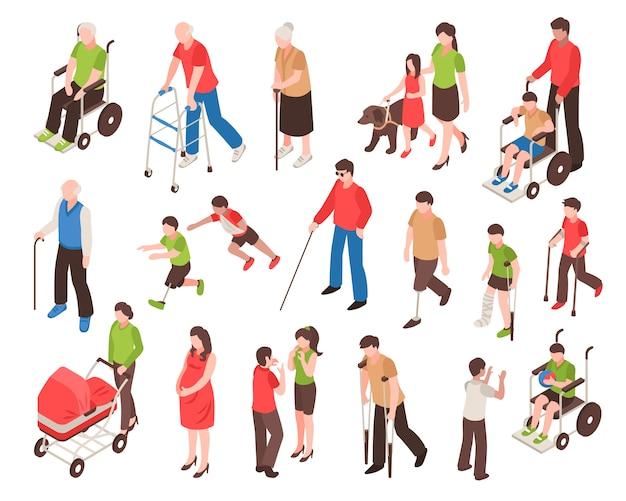 Ensemble Isométrique De Personnes Handicapées Vecteur gratuit