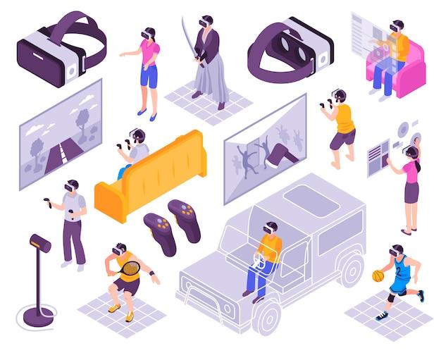 Ensemble Isométrique De Réalité Virtuelle Vecteur gratuit