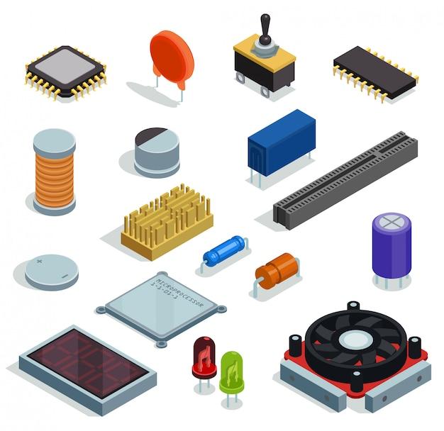Ensemble Isométrique Semi-conducteur De Micropuce Microprocesseur Diode Transistor Condensateur Résistance Résistance Fente éléments Isolés Vecteur gratuit
