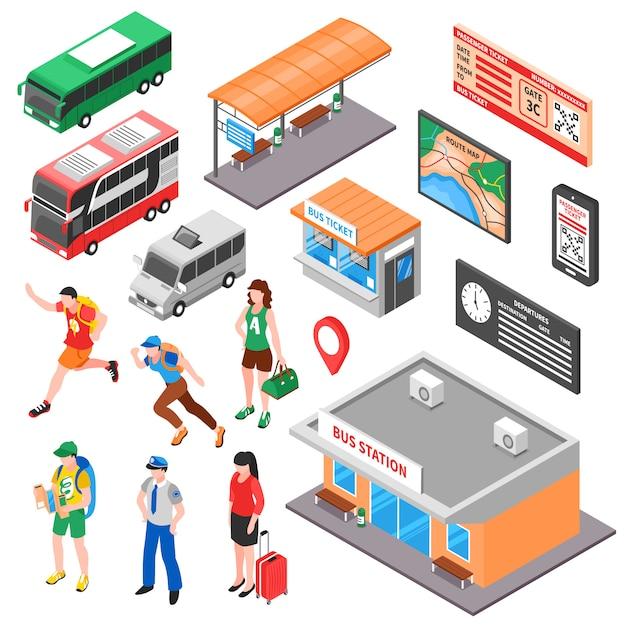 Ensemble isométrique de terminal de bus Vecteur gratuit