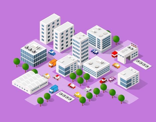 Ensemble isométrique de la ville moderne Vecteur Premium