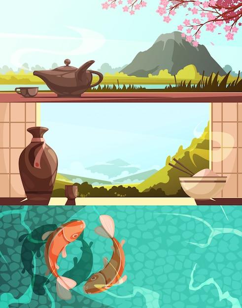 Ensemble De Japon De Bannières Horizontales Cartoon Rétro Avec La Cuisine Nationale Paysages Naturels Carpes Koi Vecteur gratuit