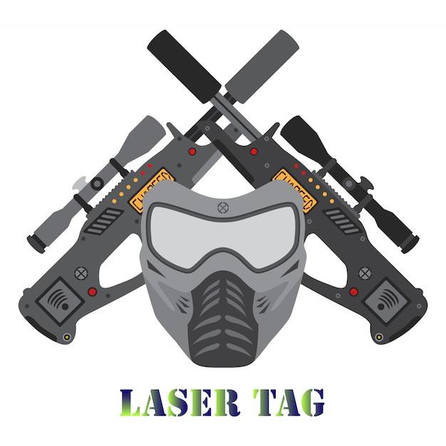 Ensemble de jeu d'étiquette laser. logo du casque et des pistolets laser. Vecteur Premium