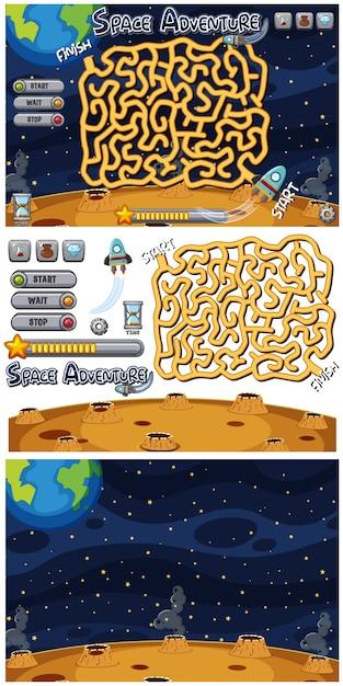 Ensemble de jeu de puzzle sur fond d'espace Vecteur Premium