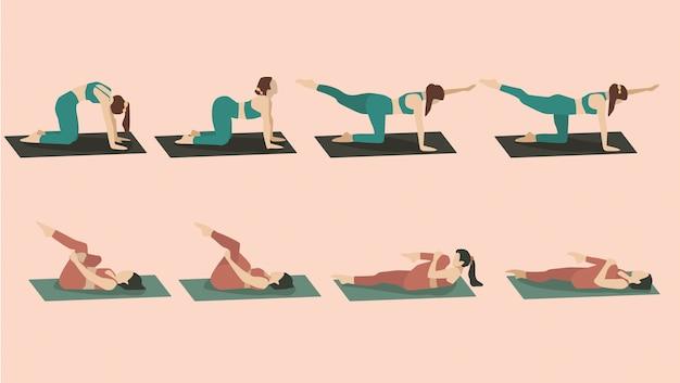 Ensemble De Jeune Femme Effectuant Des Poses De Yoga En Vêtements De Sport Vert Et Rouge Vecteur gratuit