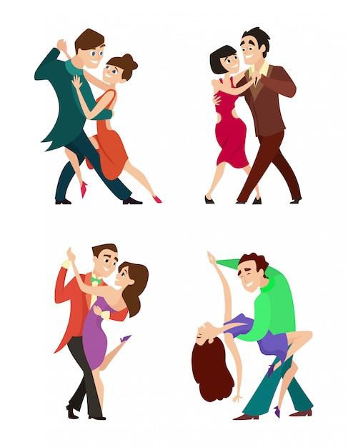 Ensemble de jeunes couples de danse moderne Vecteur Premium