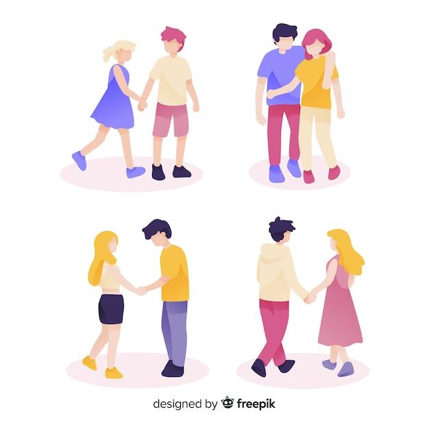 Ensemble de jeunes couples marchant Vecteur gratuit